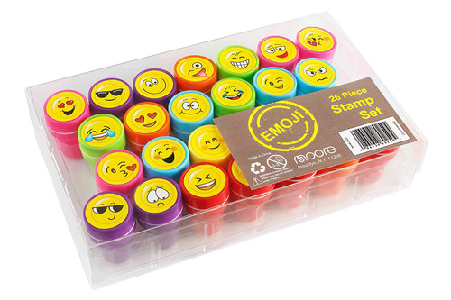 Moore Art 26 Piece Self Inking Emoji Plastic Stampers with Multi Color Bright Smiley Emoji Ink Stamps, DIY Craft for Children, Party Gifts.