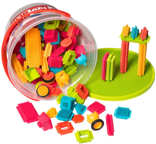 Playbuild: Brisle Blocks Building Set Educational Construction Interlocking Stacking Brisle Builder for Toddlers with Illustrated Guide Book (150-Pieces in Storage Bucket