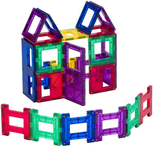 Playmags 24 Piece Set: Now with Stronger Magnets, Sturdy, Super Durable with Vivid Clear Color Tiles.