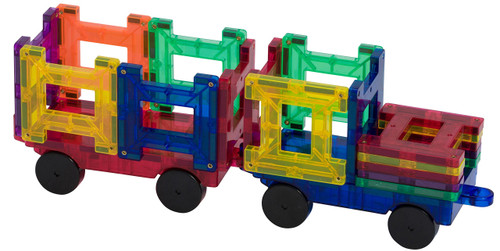 Playmags 2 Piece Car Set: Now with Stronger Magnets, Sturdy, Super Durable with Vivid Clear Color Tiles. (Colors May Vary) (Red)