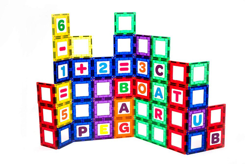 Playmags Magnetic Tile Building Set: EXCLUSIVE Educational Clickins  80-Pc. Kit: 40 Super Strong Clear Color Magnet Tiles Windows & 40 Letters & Numbers  Stimulate Creativity & Brain Development