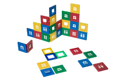 Playmags Magnetic Tile Building Set: EXCLUSIVE Window Clickins  60-Pc. Kit: 30 Super Strong Clear Color Magnetic Tiles Windows & 30 Clickin Windows  Stimulate Creativity & Brain Development