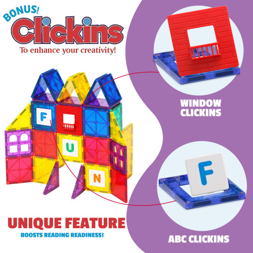 Playmags 32 + 6 Piece Set: Now with Stronger Magnets, Sturdy, Super Durable with Vivid Clear Color Tiles. 6 piece Clickins Accessories to Enhance your Creativity
