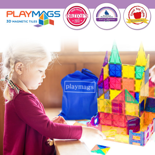 Playmags 30 Piece Squares Set: Now with Stronger Magnets, Sturdy, Super Durable with Vivid Clear Color Tiles.