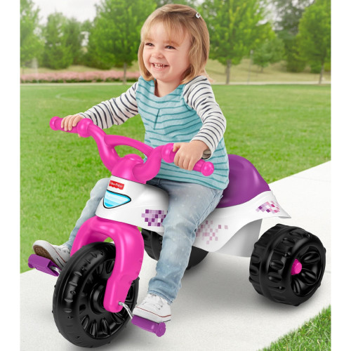 Fisher-Price Tough 3-Wheel Trike with Easy-Grip Handlebars, Pink