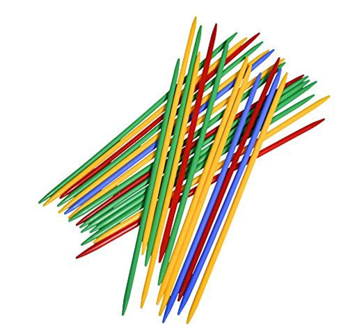 """Giant Pick Up Sticks Game in Lucite Storage Can, 9 3/4"""" Long, Great Fun Game for all Ages."""