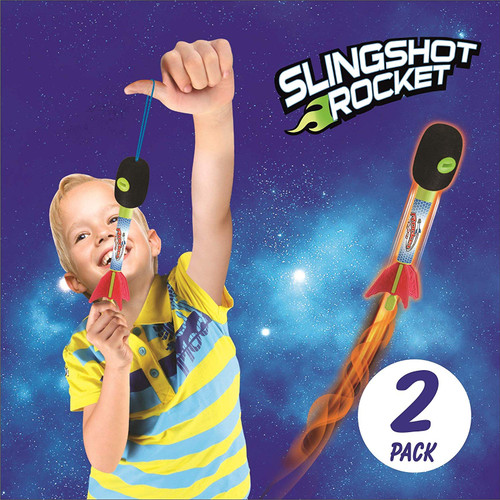 2 Pack Light Up Foam Finger Rockets, Slingshot Rocket Copters, Fun Shooting Games, for Home, Camping, Park, & Party Favor Gifts.