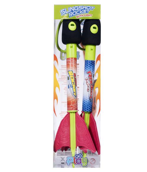 2 Pack Light Up Foam Finger Rockets, Slingshot Rocket Copters, Fun Shooting Games, for Home, Camping, Park, & Party Favor Gifts.