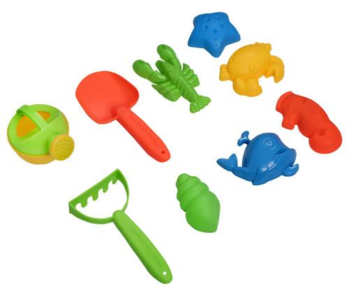 Beach Toys Mega Pack  Bulk Beach & Sandbox Play Set w/ Unique Crab, Shell & Sea Life Sand Molds, Shovel, Rake, Watering Can & BONUS Basket Carry Bag w/ Handles  Available in Pink or Blue