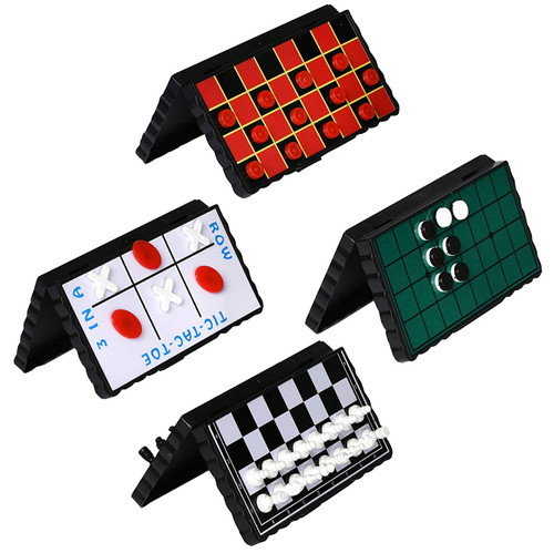 Point Games Travel Board Game Set - Bundle Pack of 4 Classic Magnetic Games for Kids Includes Individual Boards & Pieces