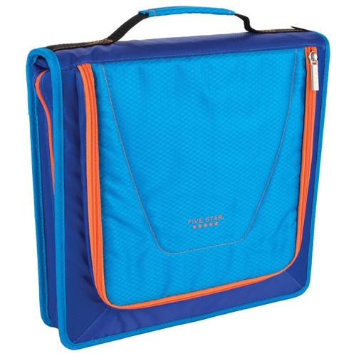 """Five Star Zipper Binder 2"""" 530 Sheet Capacity, 3-1/2"""" X 12"""" X 12-3/4, Blue/Orange (2017007)"""