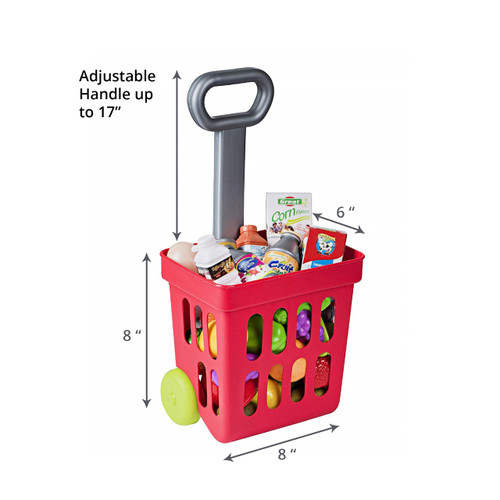 Playkidz: Shopping Cart, Fill and Roll Grocery Basket - 24 Piece Toy Shopping Basket and Pretend Food Playset - Grocery, Kitchen and Plastic Food Toys for Toddlers Age 3 Years and Up