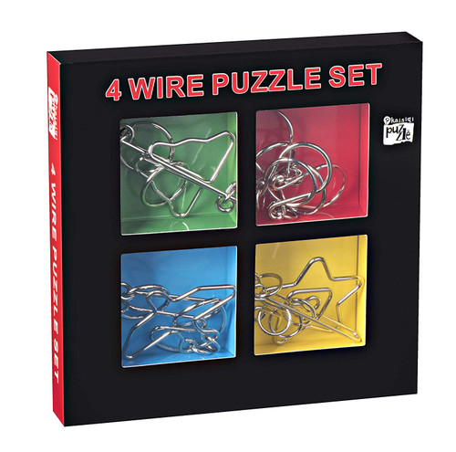 Kidstech Metal Brian Teaser - Wire Puzzles, Set of 4, Mind Game Handheld Disentangled Puzzle Toys, Educational Puzzle Challenge with storage Box, for Kids and Adults