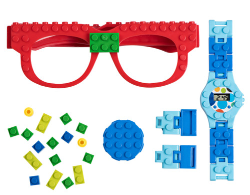 Play Build Building Bricks Digital Watch and Eye Glasses Set, Cool Toys for Boys and Girls, Classic Block Wrist Watch and Eye Glasses for Kids of All Ages.
