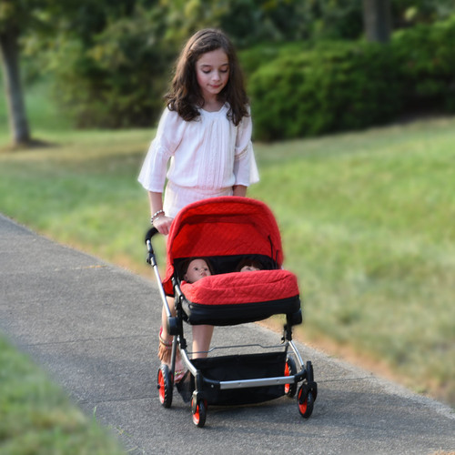 The New York Doll Collection Modern Twin Deluxe Baby Boo Stroller, Red Quilted Fabric, Adjustable Height Free Diaper Bag