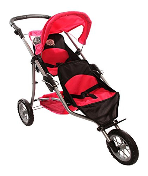 The New York Doll Collection Twin Jogging Stroller for Dolls Fits 18 Inch Dolls