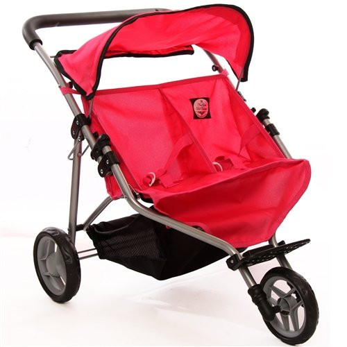 Pink Doll Twin Jogger Stroller for Ages 2+