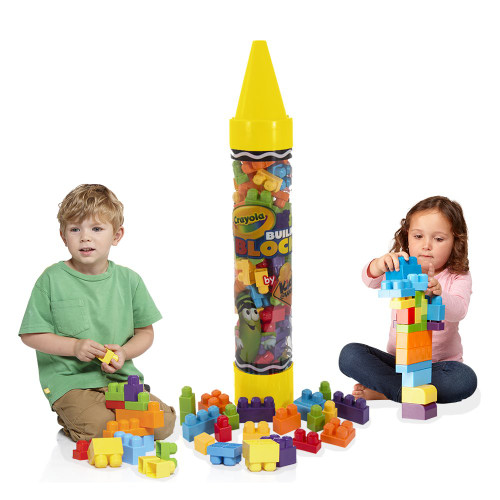 "Crayola Kids at Work 36"" Giant Crayon Tube with 80 Building Blocks, Colors May Vary"