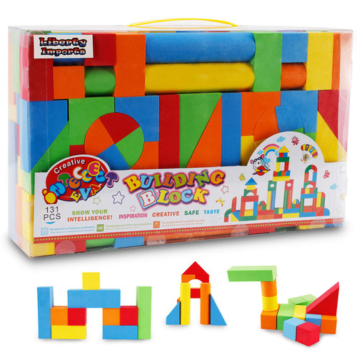 Liberty Imports Creative Educational EVA Foam Building Blocks | Ideal Construction Toys for for Girls, Boys, Toddlers - 131 Pcs