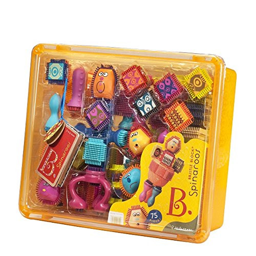 B toys by Battat - Bristle Block Spinaroos - The Official Bristle Blocks - Toy Building Blocks for Toddlers (75 pieces)