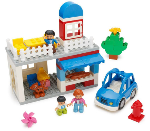 PlayBuild City Building Blocks Set  123 Pieces  Includes Grocery Store, Cash Register, House, Tree, Car, Food, Mom & Girl Minifigures, Dog, Rabbit & More  Compatible with Duplo