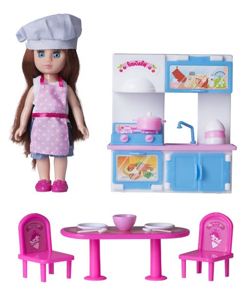Playkidz Mini Doll Kitchen Playset: Pretend Play Mini Doll with Super Durable Kitchen Accessories for Children's Doll house or just Fun Play.