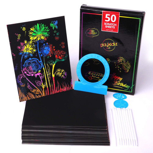 "Playkidz Art Scratch It Color Art Sheets, 50 Rainbow Sheets, 10 Stencils and 3 Mandalas, Pictures & Art Without Ink. 8.3"" x 5.8"""