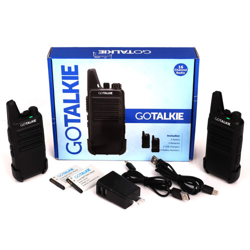GoTalkie Two-Way Radios, Walkie Talkies with 16 Channels 2 FM Transceivers with Batteries, Chargers, and Holsters, Great for Adults & Kids