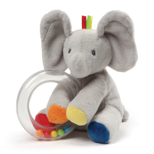 "Baby GUND Flappy the Elephant Stuffed Animal Rattle Plush Toy, 5"""