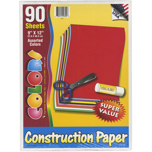 Construction Paper Pack - Assorted Colors - 9 x 12 inches - 90 sheets - Made in the USA
