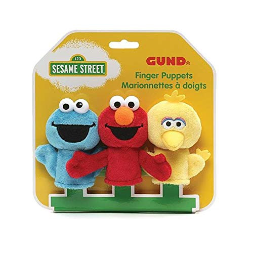 GUND Sesame Street Finger Puppets Set of 3 Elmo, Big Bird and Cookie Monster