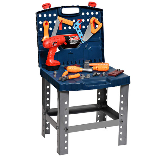 playkidiz Construction Workbench for Kids Portable Boys & Girls Toy Playset Includes Working Electric Power Drill, Travel