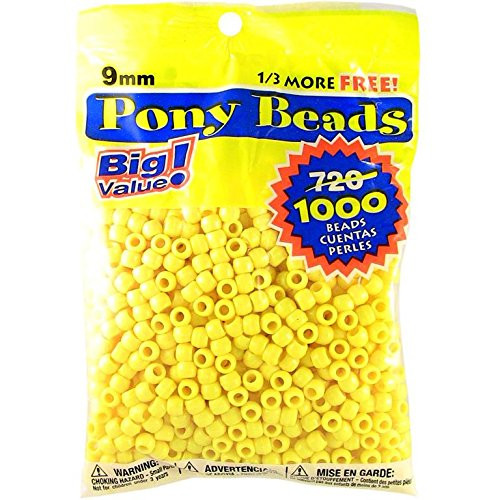 Darice Lemon H Opaque Yellow Pony Craft Projects for All Ages Jewelry, Ornaments, Key Chains, Hair Round Plastic Center Hole, 9mm Diameter, 1,000 Beads, 1000