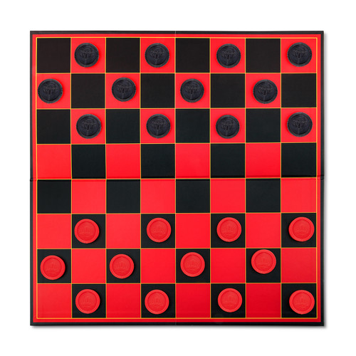 Point Games Checkers Game with Super Durable Board - *UPDATED* Checkers Have Stackable Grooves To Secure The King- Indoor/Outdoor Fun Board Game for All Ages