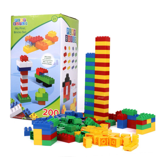 Play Build My First Brick Set - 200 Pieces - Includes Four Primary Color Block, - QTS Chanukah Toy Drive
