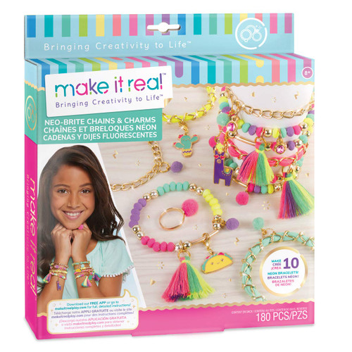 Make It Real - Neo-Brite Chains and Charms. DIY Gold Chain Charm Bracelet Making Kit for Girls. Arts and Crafts Kit to Create Unique Tween Bracelets with Neon Beads, Unique Pom Charms, and Gold Chains - QTS Toy Drive