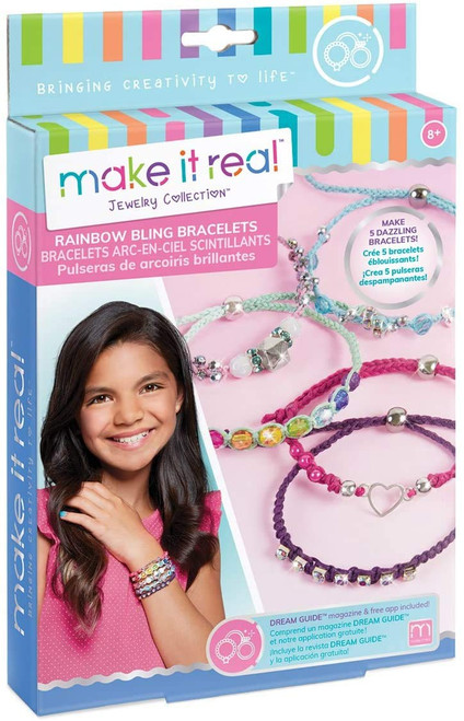 Make It Real - Rainbow Bling Bracelets. DIY Bead and Knot Bracelet Making Kit for Girls. Arts and Crafts Kit to Design and Create Unique Tween Knot Bracelets with Wax Cord, Beads, Charms and Gem Links - QTS Toy Drive