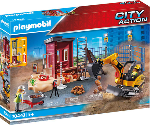 Playmobil Mini Excavator with Building Section - QTS Toy Drive