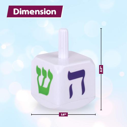 Hanukkah Spinning Light-Up Dreidel, 4 IndividuallyPackedChanukah Draidels , Classic Dreidel w LED Lights Inside, Large Hebrew Letters on Side