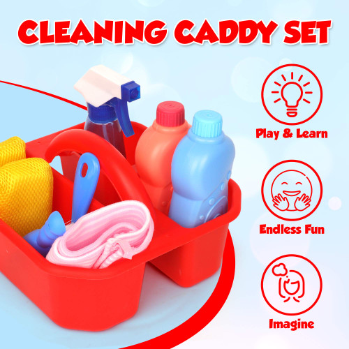 Playkidz Cleaning Caddy Set, 10Pcs Includes Spray, Sponge, Squeegee, Brush, Organizer Caddy - Play Helper Realistic Housekeeping Set, Recommended for Ages 3+