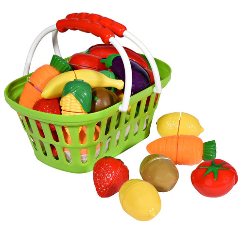 Playkidiz Super Durable Healthy Fruit and Vegetables Basket - Pretend Play Kitchen Food Educational Playset with Toy Knife