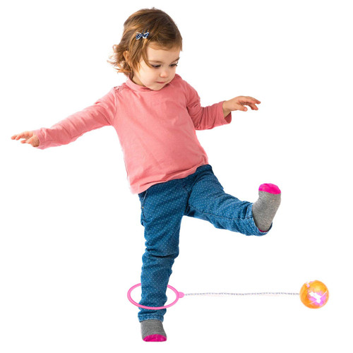 Playkidz Flashing Skip Ball with LED Lights, Ankle Jumping Game for Kids & Adults, Indoor & Outdoor (Colors May Vary Between, Pink, Blue or Green)