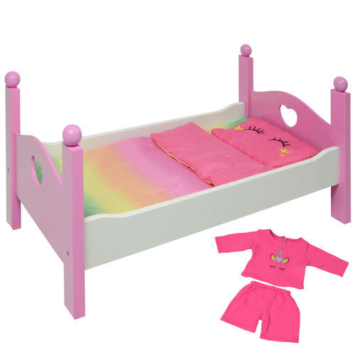 Wooden Doll Bed fits 18 Inch and American Girl Dolls