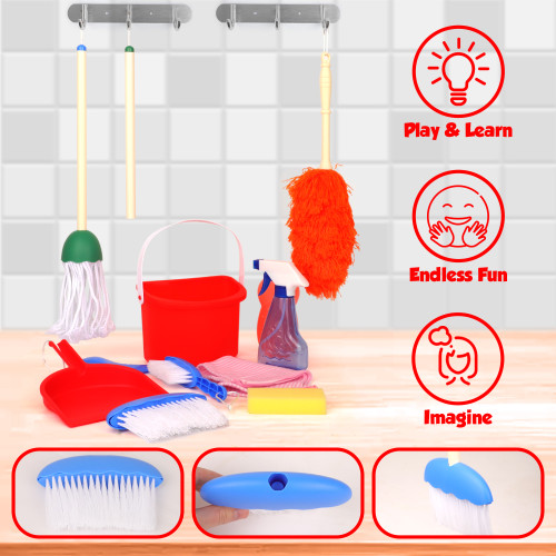Playkidz Deluxe Cleaning Set, 11Pcs Includes Spray, Mop, Brush, Broom, Sponge, Squeegee - Play Helper Realistic Housekeeping Set, Recommended for Ages 3+