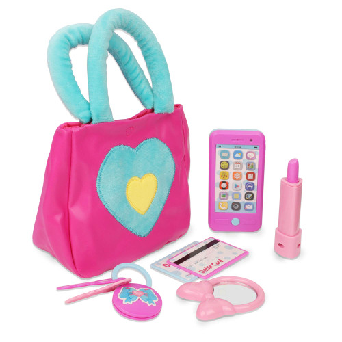 Playkidz Princess My First Purse Set - 7 Pieces Kids Play Purse and Accessories, Pretend Play Toy Set with Cool Girl Accessories, Includes Phone and Bag with Cards.