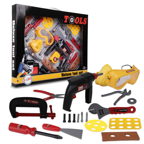 Playkidz Tool Set for Kids 20 Piece+ Boys & Girls Toy Playset w/ Construction Hard Hat, Measuring Tape, Two Electric Power Drill, Hammer & Other Realistic Accessories Recommended Ages 3+