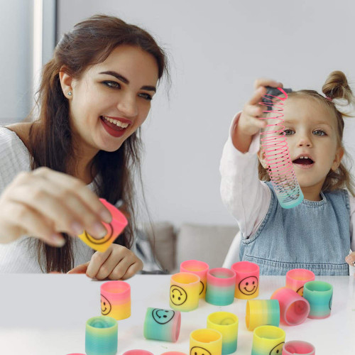 PlayKidz Magic Rainbow Spring w/Smiley Face Printed, Colorful Pack of 24, Great Supply for Parties and Birthdays for Kids of All Ages