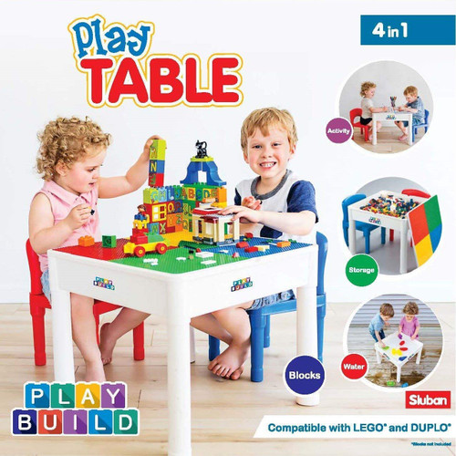 Play Build Kids 4 in 1 Play & Build Table Set for Indoor Activity, Outdoor Water Play, Toy Storage & Building Block Fun Includes 2 Toddler Chairs
