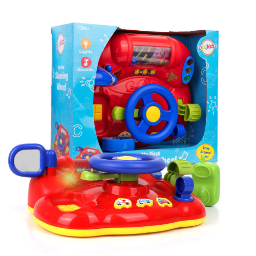 """Playkidz My First Steering Wheel, Driving Dashboard Pretend Play Set with Lights, Sound and Phone, 10""""x8"""", Recommended for Ages 12months+"""