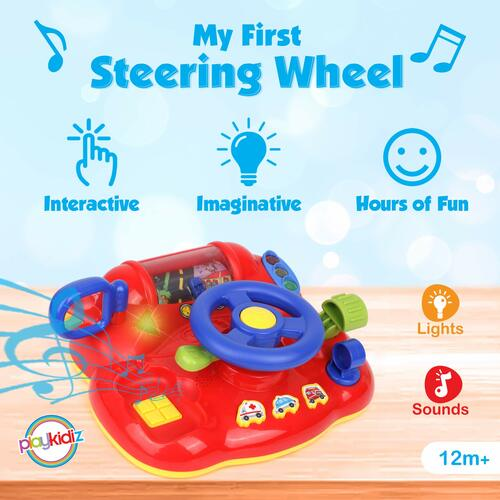"Playkidz My First Steering Wheel, Driving Dashboard Pretend Play Set with Lights, Sound and Phone, 10""x8"", Recommended for Ages 12months+"